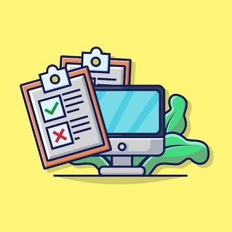 컴퓨터 모니터 및 점검 종이 아이콘 비즈니스 점검의 그림 그래픽.