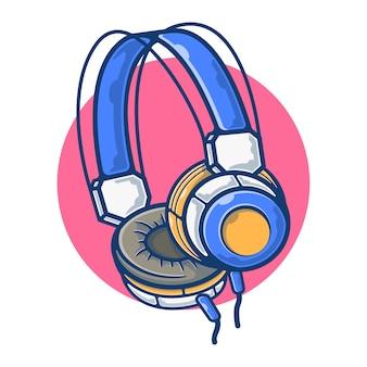 음악 듣기를위한 헤드폰의 일러스트 그래픽