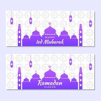 График иллюстрации рамадана и ied mubarak. хорошо для мусульманского момента. мечеть, роскошная лампа, луна и звезды.
