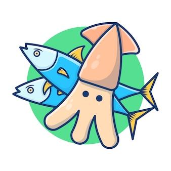 물고기와 문어와 해산물의 일러스트 그래픽. 신선한 생선과 오징어. 플랫 만화 스타일
