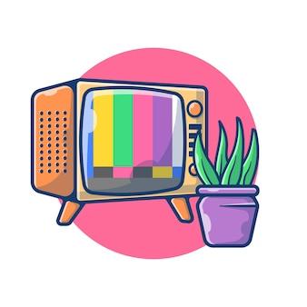 ヴィンテージテレビ無信号のイラストグラフィック。テレビと植物のリビングルームのコンセプト。フラット漫画スタイル