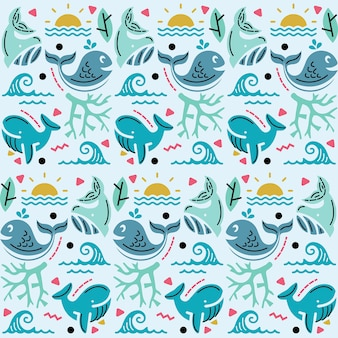 Illustration  graphic of seamless pattern with sea and whale decoration