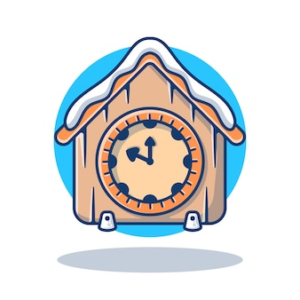 Illustration graphic of vintage clock with snow