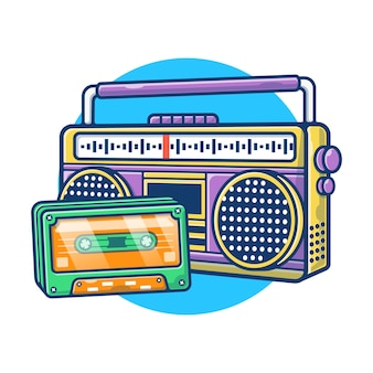 Illustration graphic of vintage radio and cassette tape. cassette audio recording concept. flat cartoon style