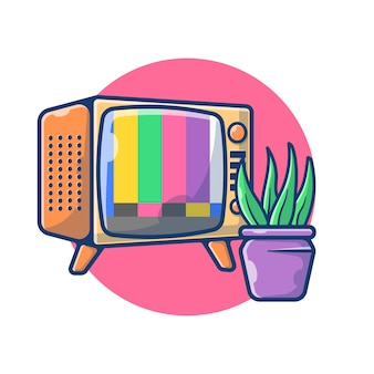 Illustration graphic of vintage television no signal. television and plant living room concept. flat cartoon style