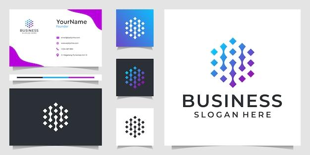 抽象的なテクノロジーのロゴと名刺デザインのイラストグラフィック。ブランディング、広告、ビジネス、個人使用に最適
