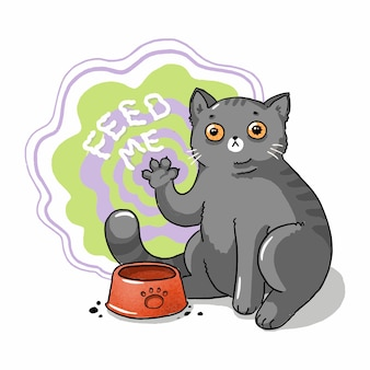 Illustration of a gray cat hypnotizing asks for food