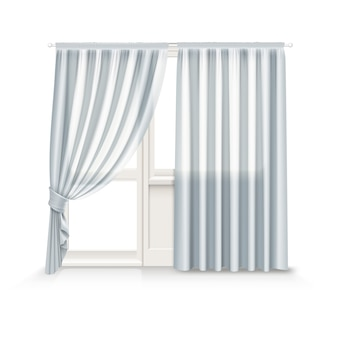 Illustration of gray curtains hang on window and balcony door on white background