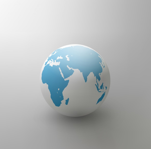 Illustration of gray globe isolated