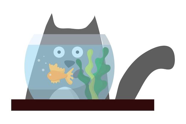 Illustration of a gray surprised cat the cat looks at the aquarium