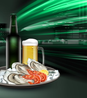 Illustration of green bottle and glass mug of light beer with appetizer of seafood