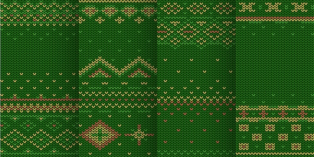 Illustration of green color winter theme knitted seamless patterns in set