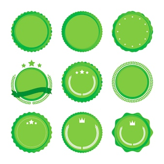 Illustration of green colored circle emblems with different ribbons.