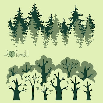 Illustration of green deciduous  forest and coniferous forest.