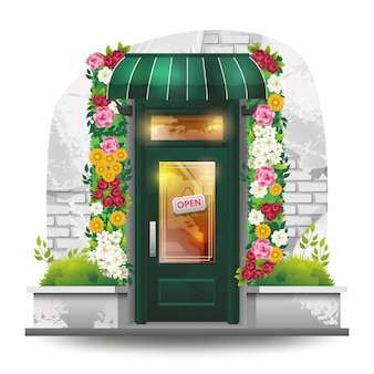Illustration of a green door from a florist
