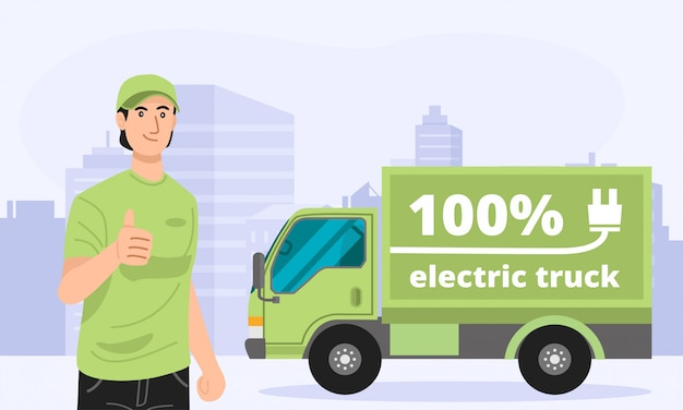 Illustration of green electric truck with a delivery man.