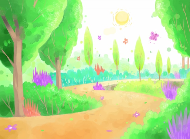 Illustration in green forest with dirt road.