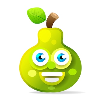 Illustration of green juicy stylized pear with leaf