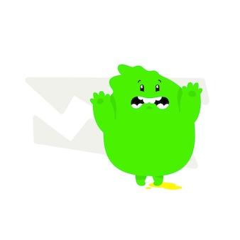 Illustration of a green kawaii monster cute cartoon baby dragon