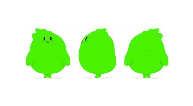 Illustration of a green kawaii monster