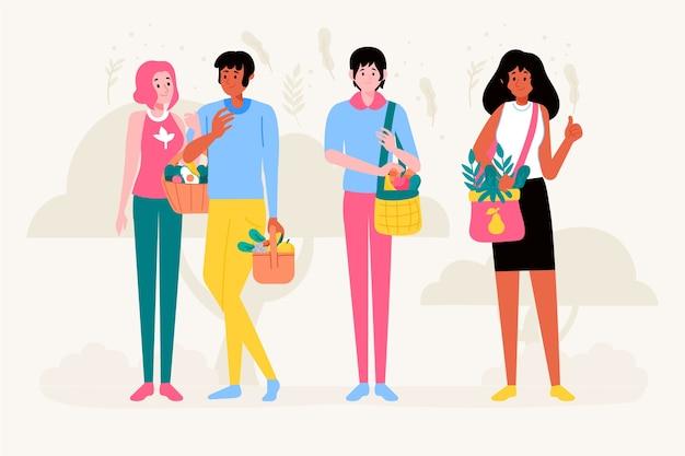 Illustration of green lifestyle people