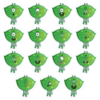 Illustration of green monster set.