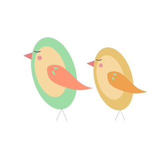 Illustration of green and yellow cute birds isolated on white.