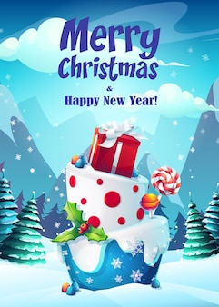 Иллюстрация поздравительная открытка с рождеством