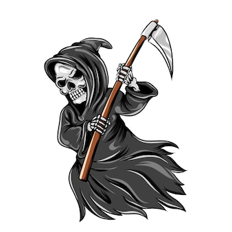 The illustration of the grim reaper flaying and holding the scythe and using the grey cloak