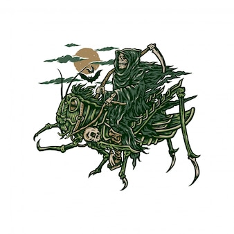 Illustration of grim reaper riding grasshopper, hand drawn line style with digital color