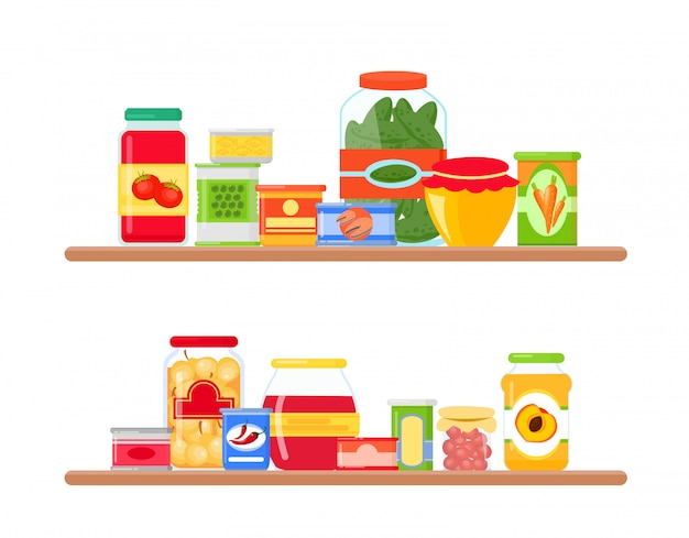 Illustration of grocery store shelves full of colorful and bright groceries in  e.