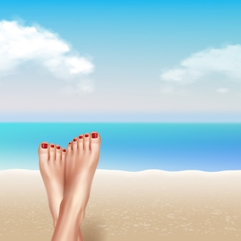 Illustration of groomed feet close up, relaxing woman legs on beach on summer day on sand, sea and sky background. vacation and holidays concept