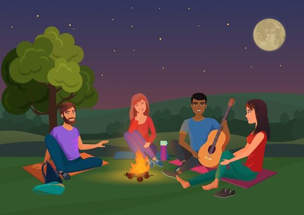 Illustration of group of friends sitting with guitar and talking at night.