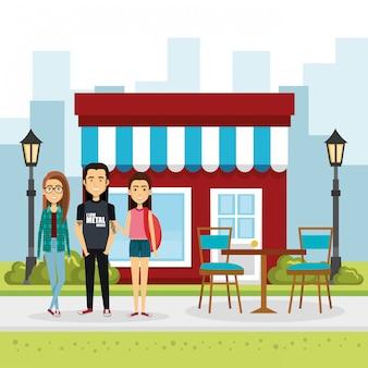 Illustrazione di un gruppo di persone al di fuori del mercato