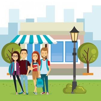 Illustration of group of people outside market