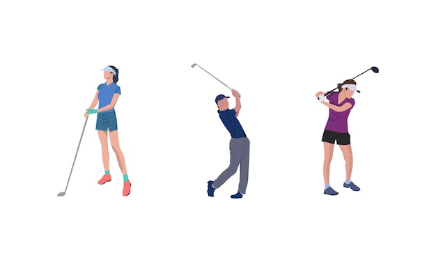 Illustration of a group of people playing golf