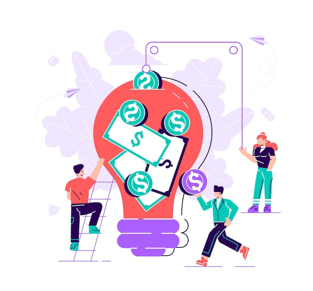 Illustration of a group of people who invest in the idea, the concept of value, shopping- . flat style modern design  illustration for web page, cards, poster, social media.