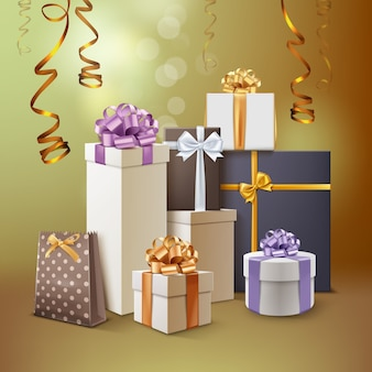 Illustration of group of presents. gift boxes with ribbons and bows isolated on golden background
