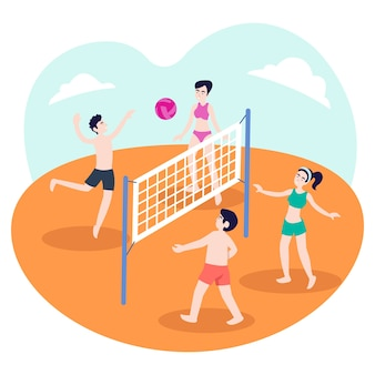 Illustration of a group of teenagers playing volleyball on the beach in the summer