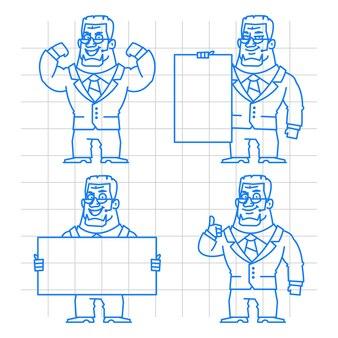 Illustration, guard doodle concept set 1, format eps 10