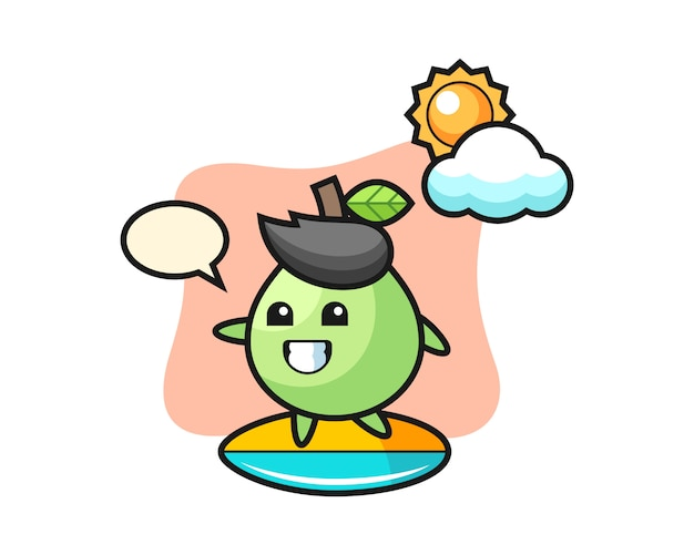 Illustration of guava cartoon do surfing on the beach, cute style design for t shirt, sticker, logo element