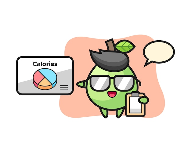 Illustration of guava mascot as a dietitian, cute style design for t shirt, sticker, logo element