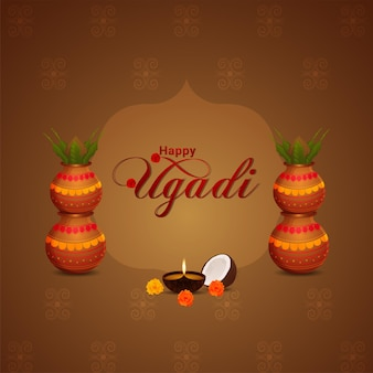 Illustration of gudi padwa festival of india celebration  greeting card