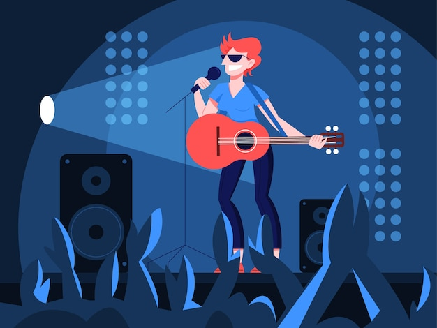 Illustration of guitarist playing music on the stage. woman holding an acoustic guitar and sing to the crowd. female performer standing with guitar and performing a show.
