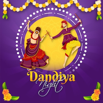 Illustration of gujarati couple performing dandiya dance on the occasion of dandiya night party celebration.