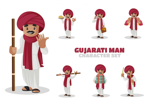 Illustration of gujarati man character set