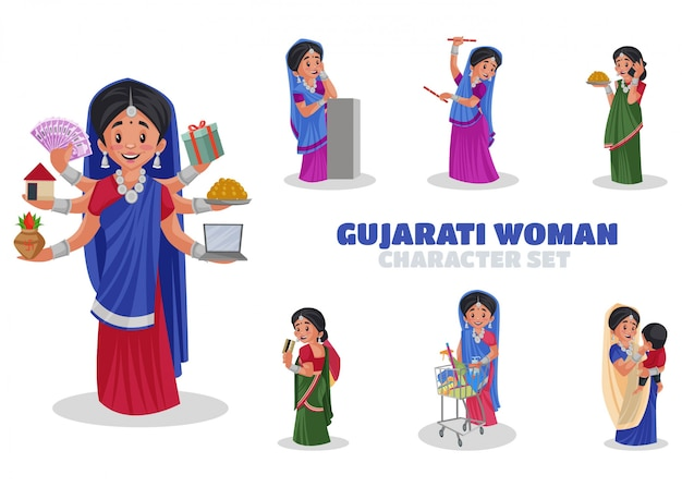 Illustration of gujarati woman character set