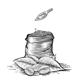 Illustration of gunny sack with coffee bean in engraving style