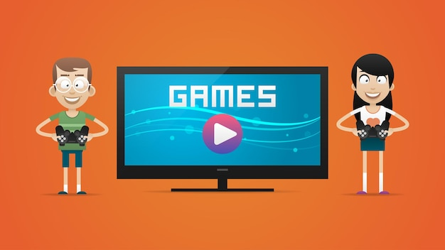 Illustration, guy and girl playing video games, format eps 10