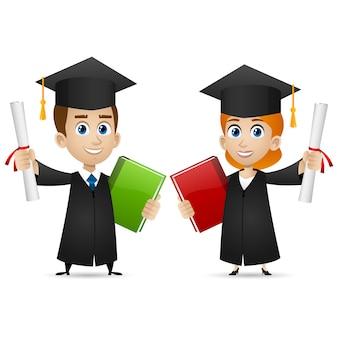 Иллюстрация, парень девушка выпускница вуза держит диплом, формат eps 10